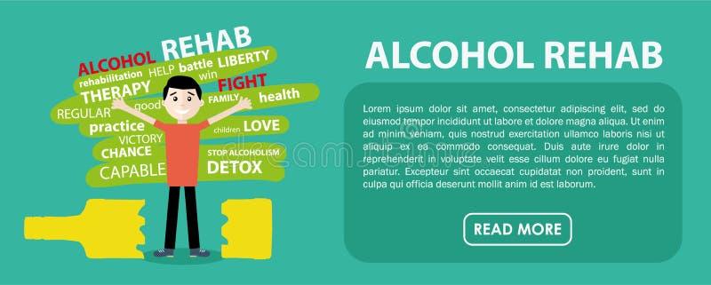 Alkoholu rehab sztandar Wektorowy płaski projekt ilustracji