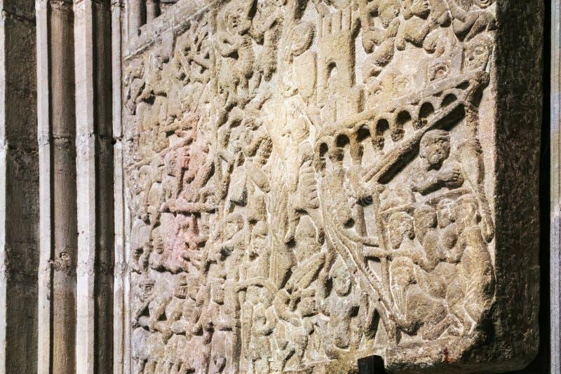 Allégement médiéval dépeignant le siège de Carcassonne photos libres de droits