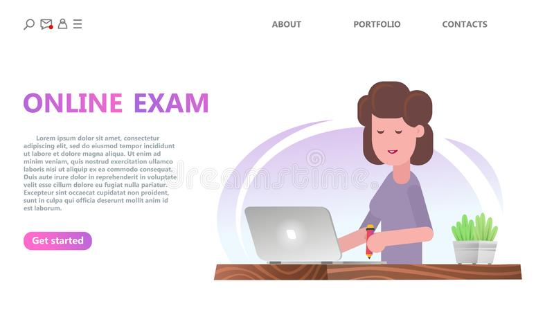 Online testing or exam service concept. stock illustration