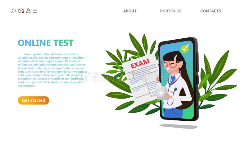 Online medical exam test. Healthcare technology. royalty free illustration