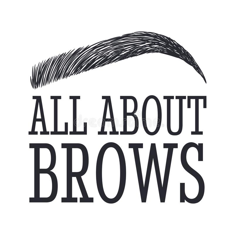 Free All About Brows. Text And Eyebrow. Logo For Brow Bar Royalty Free Stock Photography - 109183327