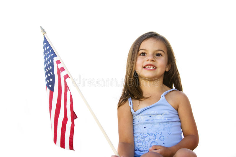 All-American Girl with U.S. Flag royalty free stock images