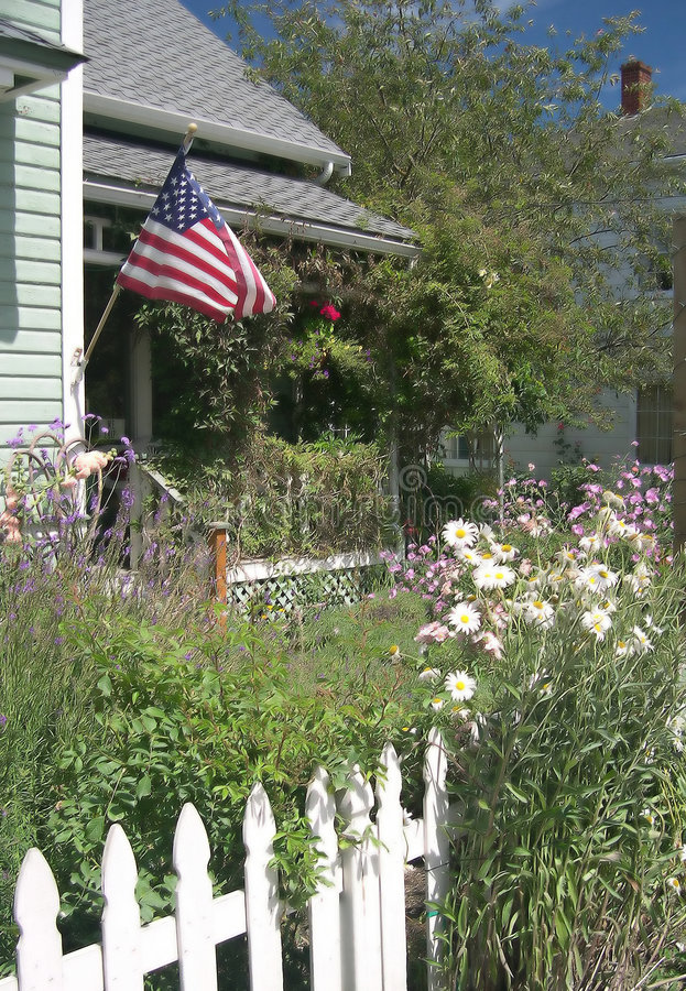 Download All American Porch stock photo. Image of picket, flag, rockwell - 50448