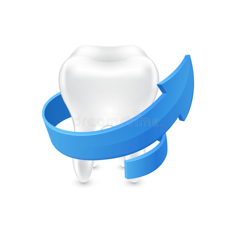All around protected human teeth on white background stock illustration