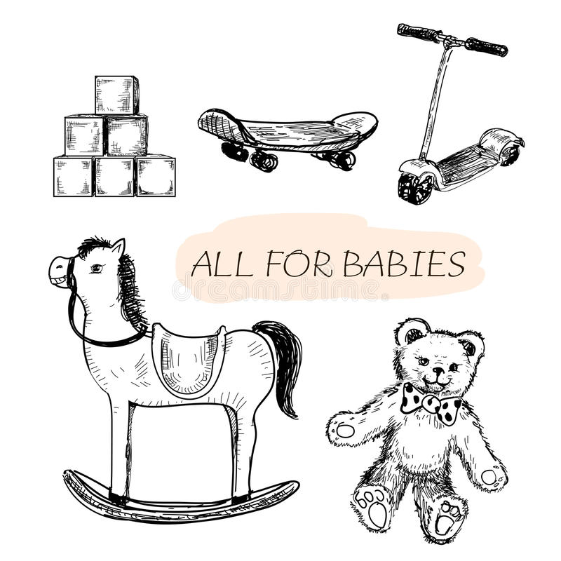All for babies. Set of hand drawn illustrations vector illustration
