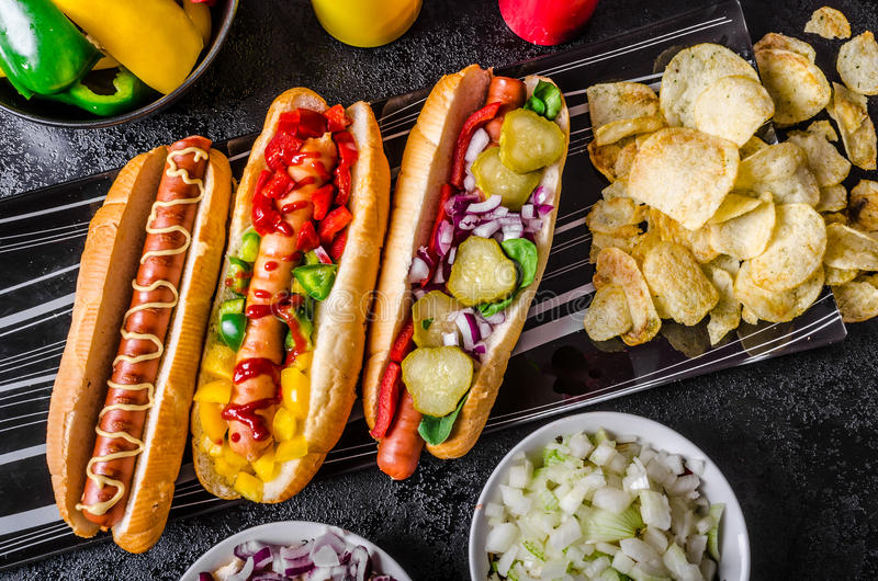 All beef dogs, variantion of hot dogs royalty free stock photo