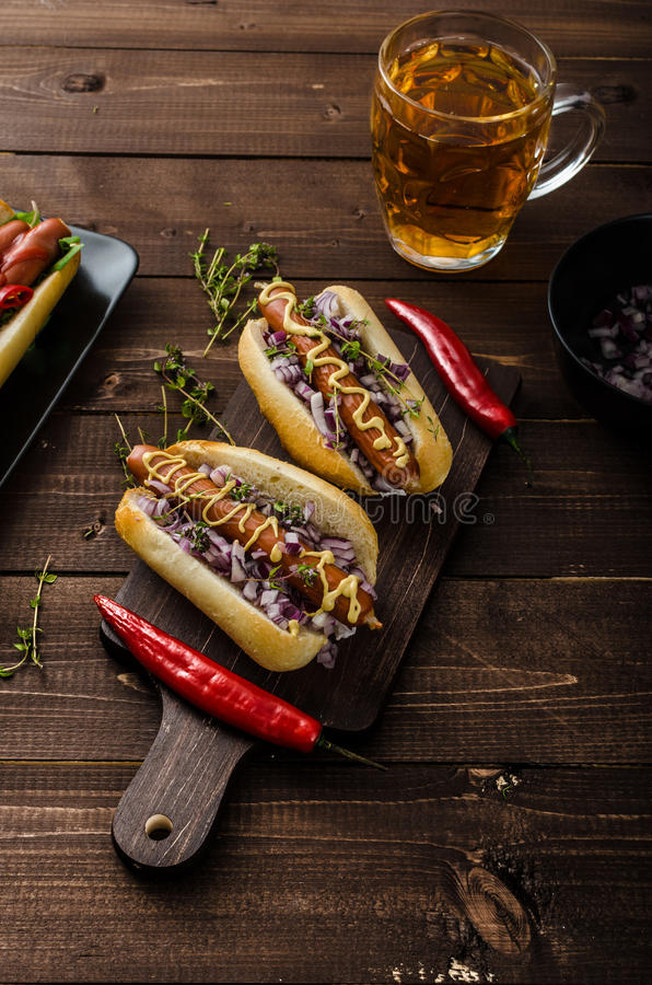 All beef dogs variations. Nice hot dogs with beer, differend sizes and delicious flavour royalty free stock images