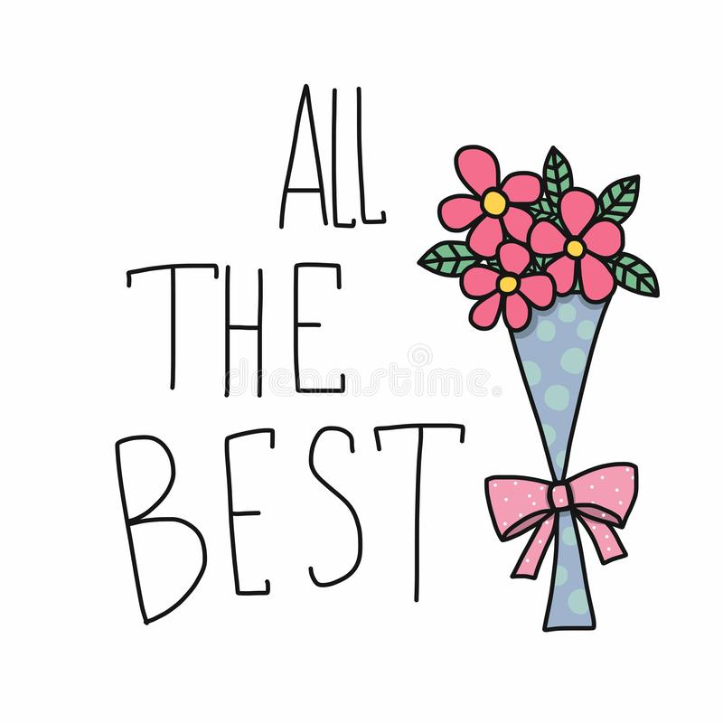 All the best word and pink flower bouquet cartoon vector illustration doodle style royalty free illustration