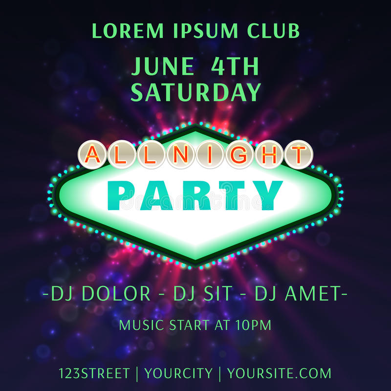 All Bight Party Club Poster Vector vector illustration