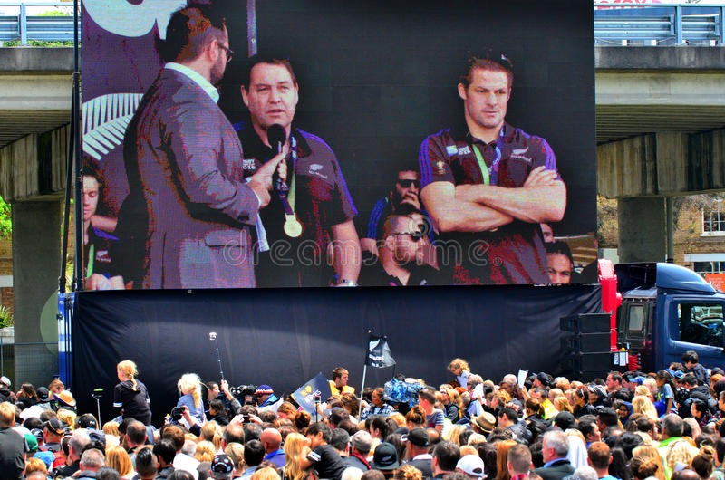 All Blacks coach Steve Hansen and Richie McCaw. AUCKLAND, NZL - NOV 04 2015:All Blacks coach Steve Hansen and Richie McCaw speek to the crowd in Victoria Park royalty free stock photography