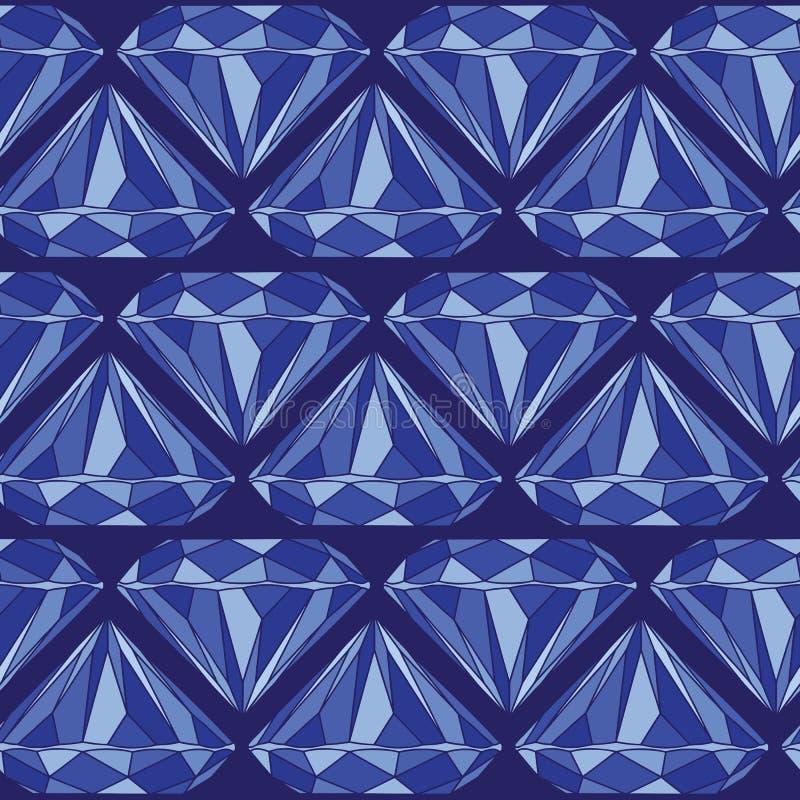 Blue Brilliant Cut Diamond Seamless Pattern vector illustration