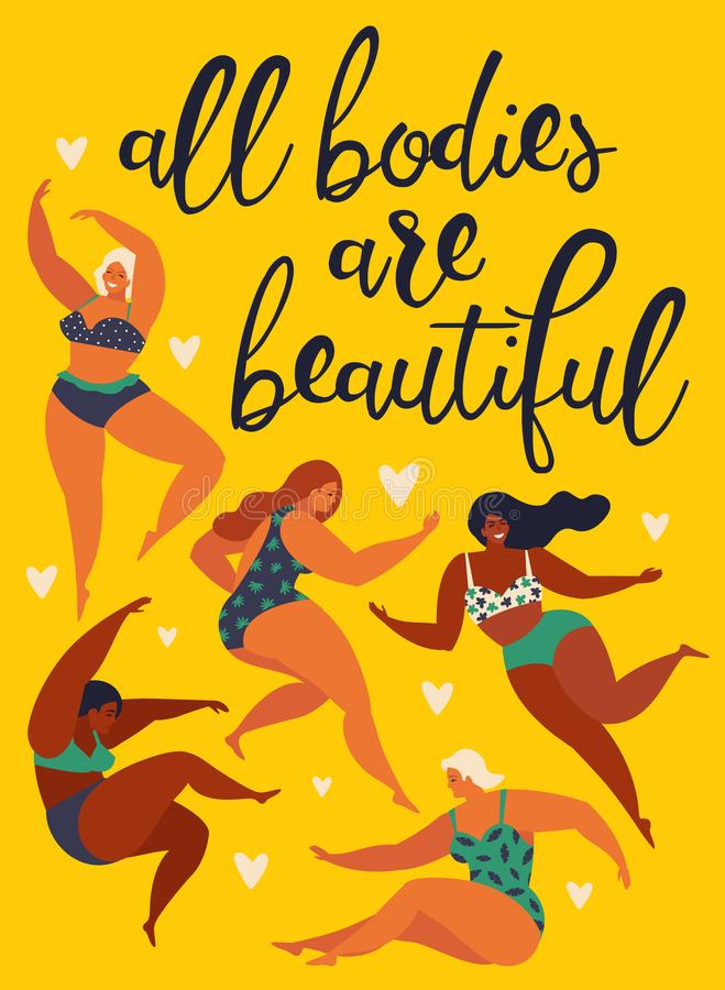 All bodies are beautiful Body positive. Happy girls are dancing. Attractive overweight woman. Vector illustration. All bodies are beautiful. Body positive royalty free illustration