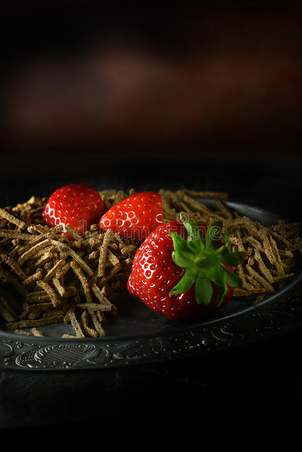 All Bran with strawberries royalty free stock photography