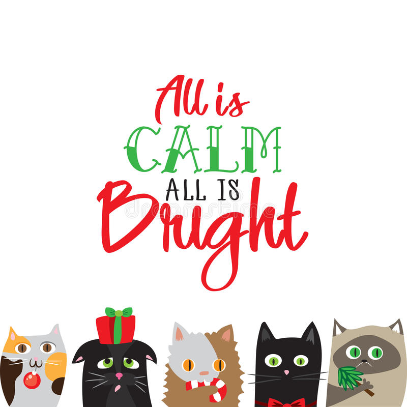 All is calm all is bright. Holiday greeting card with cute cat characters stock illustration