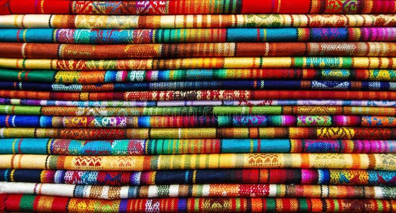 All the colors of Ecuador. Indian fabric market. Ecuador royalty free stock photography