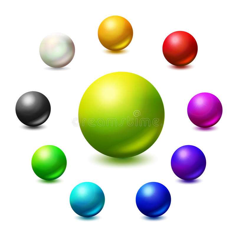All colors and monochrome spheres illustration. All colors and monochrome spheres. Colorfull vector palett. Bright colors realistic ball set stock illustration