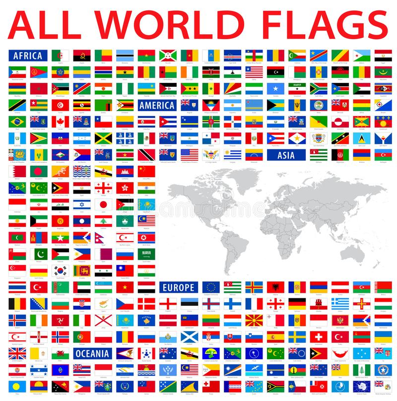 All country flags of the world. With a high detailed map of the world stock illustration