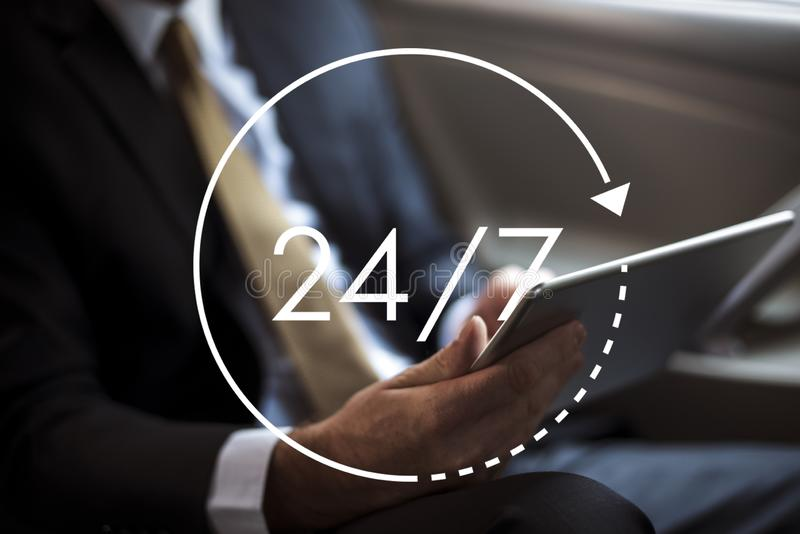 24/7 all day all night icon illustration royalty free stock photography