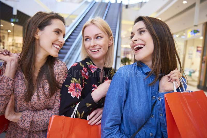 All day spent with best friends in shopping mall stock photo
