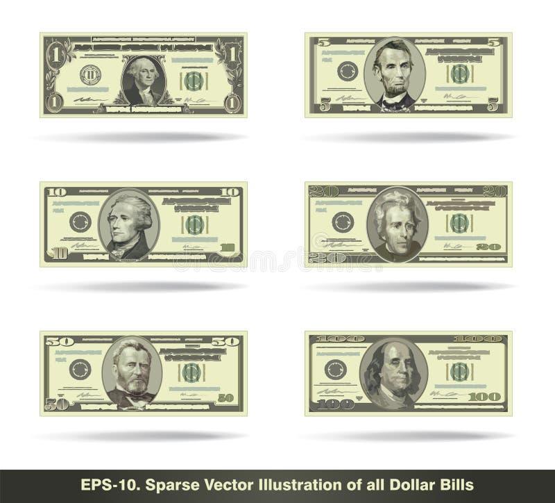 Free All Dollar Bills Flat Stock Photos - 54069453