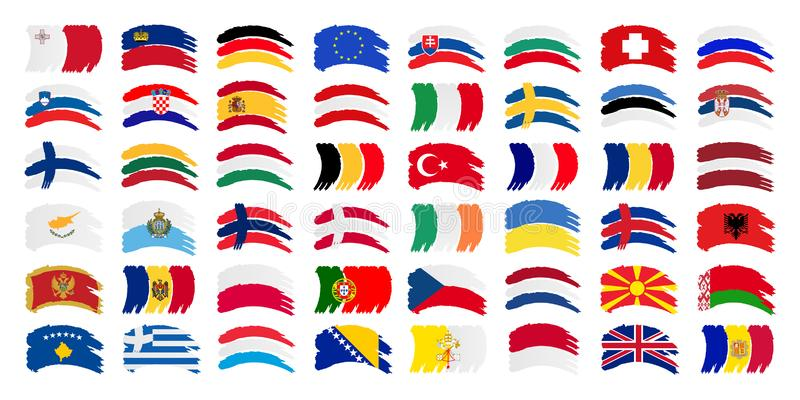 All Europe Flag and Every European Flags Vector Set vector illustration