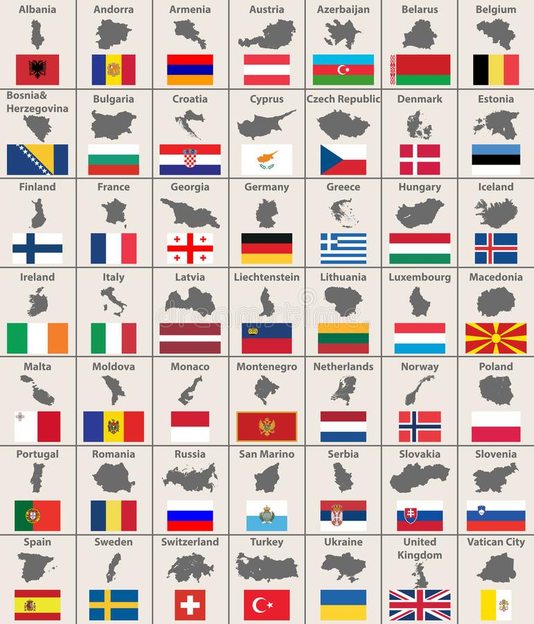 All Europe maps and flags. Vector. All european maps and flags. Vector stock illustration