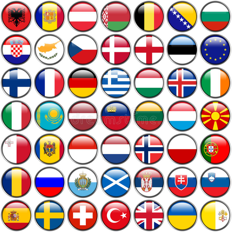 All European Flags - circle glossy buttons. Every button is isolated on white background.  stock illustration