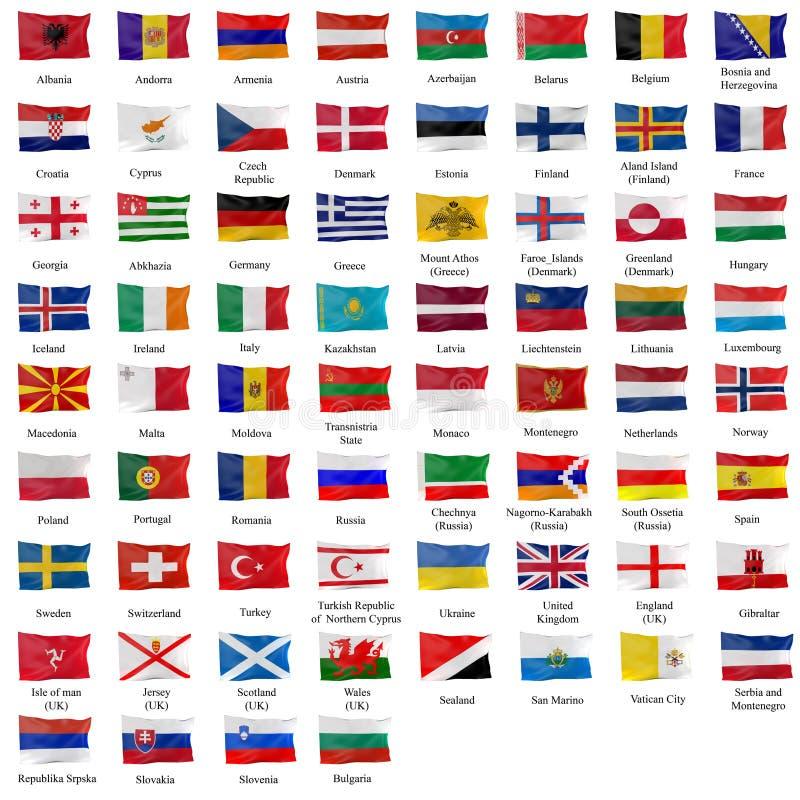 all europeisk flagga royaltyfri illustrationer