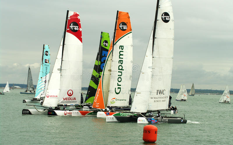 All Extreme 40 catamarans at cowes week. Catamaran at Extreme 40 series event at Cowes Week 2010 stock image