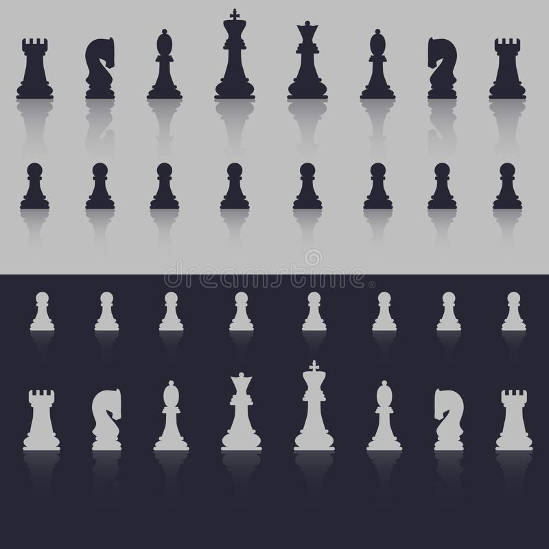 All figures are chess. In cold shades, with a shadow in the form of reflection. Flat style. royalty free illustration