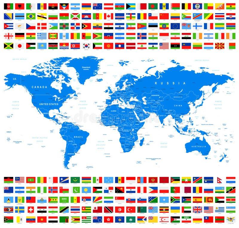 All flaggor och världskarta Azur stock illustrationer