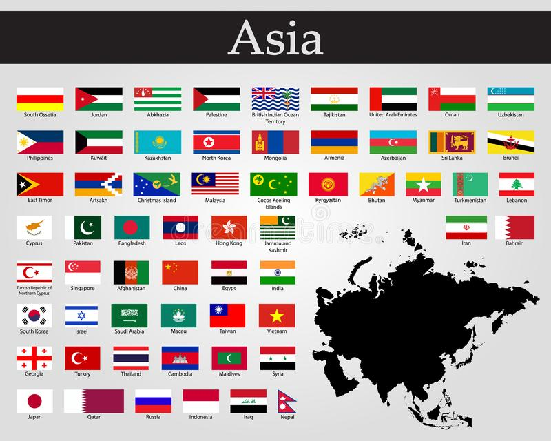 All flags of Asia. Vector illustration. World flags royalty free illustration