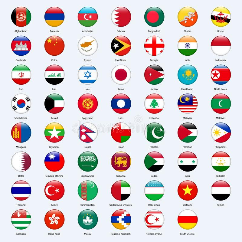 All flags of the countries of the Asia. Round glossy style. royalty free illustration