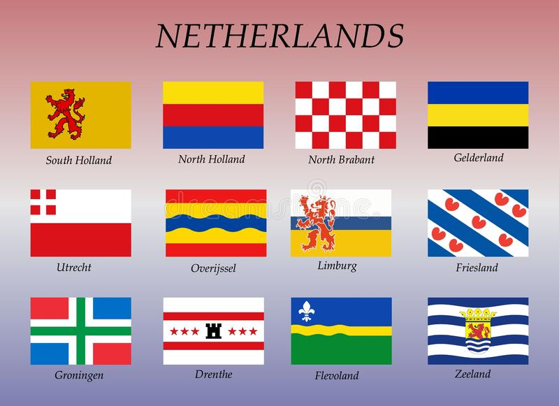 All flags of the Netherlands regions. Vector illustrations royalty free illustration