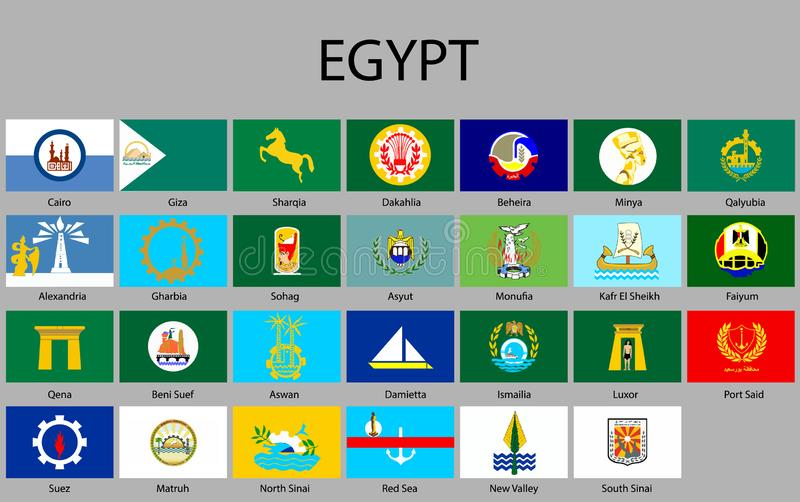 all Flags of regions of Egypt stock illustration