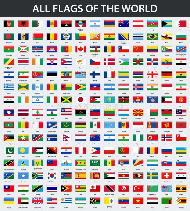 All flags of the world in alphabetical order. Rectangle glossy style vector illustration