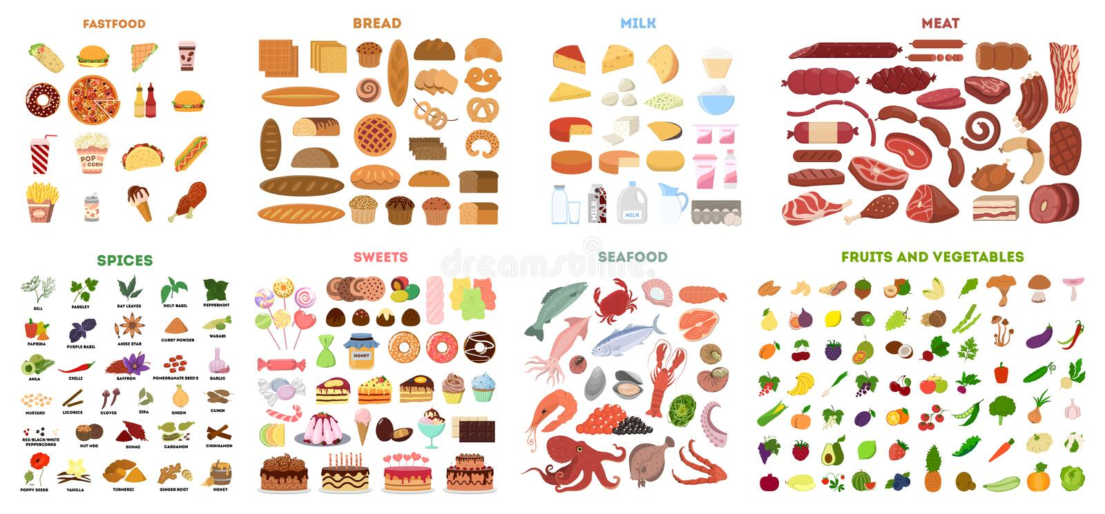 All food set. Meat and vegetables, fruits and fast food, fish and sweets