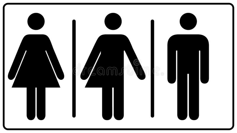 All gender restroom sign. Male, female transgender. illustration. Black symbols isolated on white. Mandatory banner. Se vector illustration
