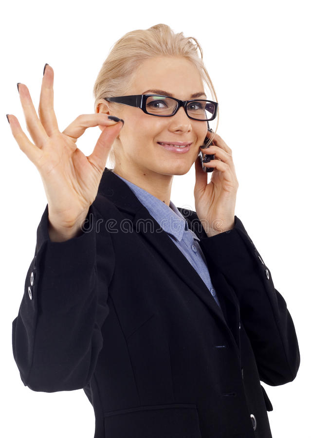 All good!. Happy business woman with phone and oke gesture, isolated royalty free stock photos