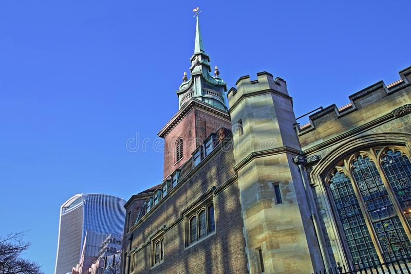 All Hallows by the Tower Church in the financial district of the City of London with 20 Fenchurch Street Walkie Talkie in the ba. Ckground, London, UK royalty free stock images