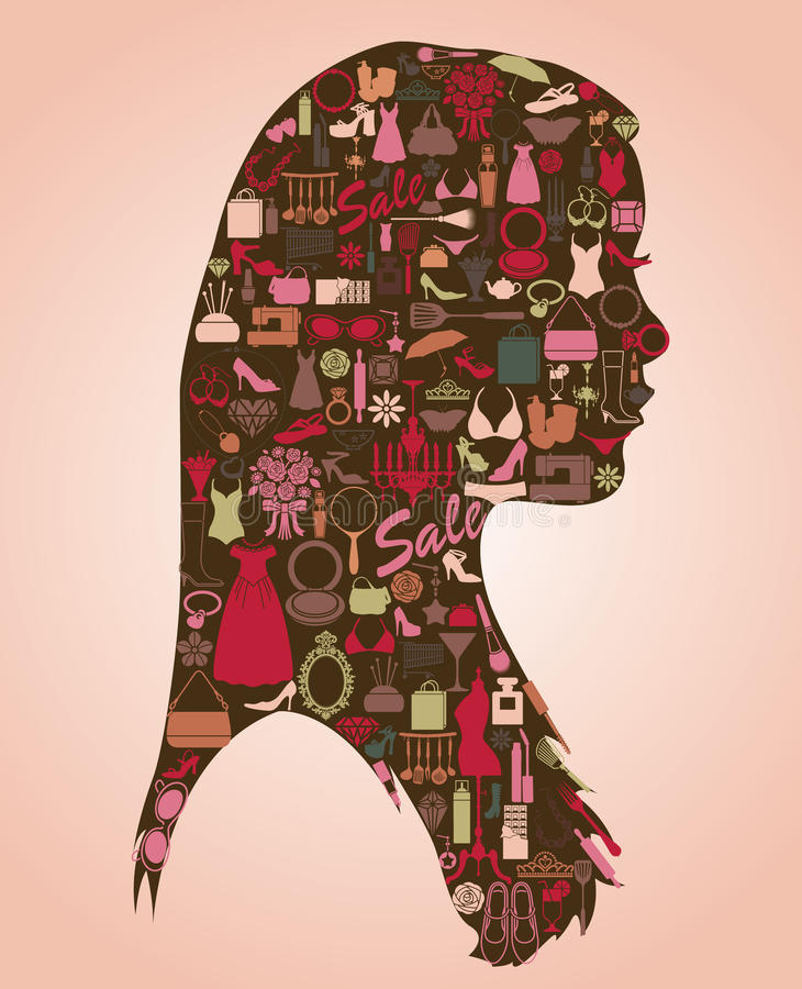 All icons about woman. All thing about woman in icon shape royalty free illustration