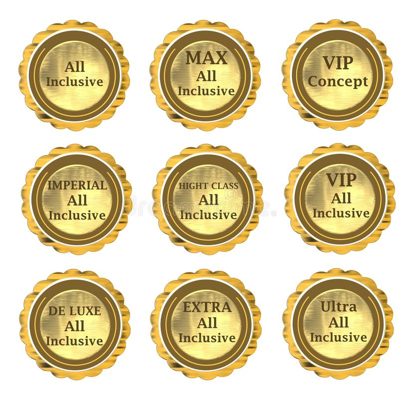 All Inclusive Label Set Royalty Free Stock Photography