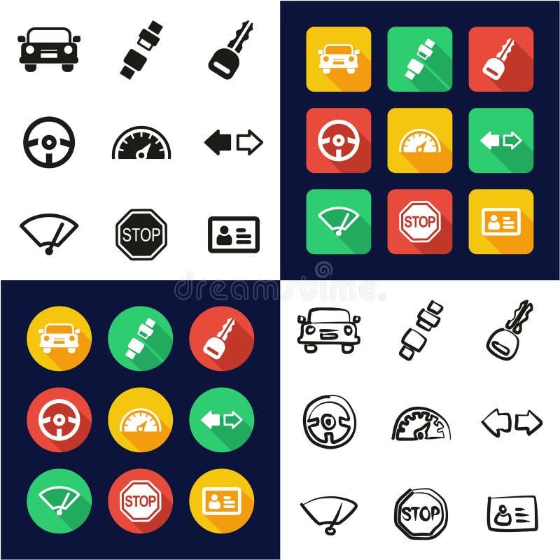 All körskola i en symboler uppsättning för design för svart- & vitfärglägenhet Freehand royaltyfri illustrationer