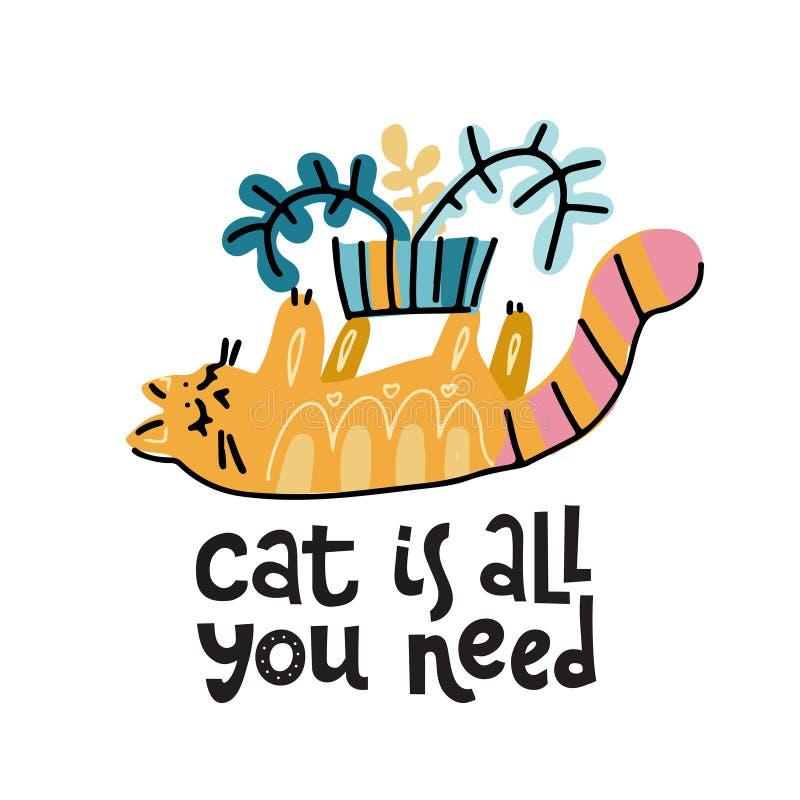 All katten är som du behöver - den drog handen märka text om husdjur, positiv citationsteckenaffisch Den gulliga katten spelar me royaltyfri illustrationer
