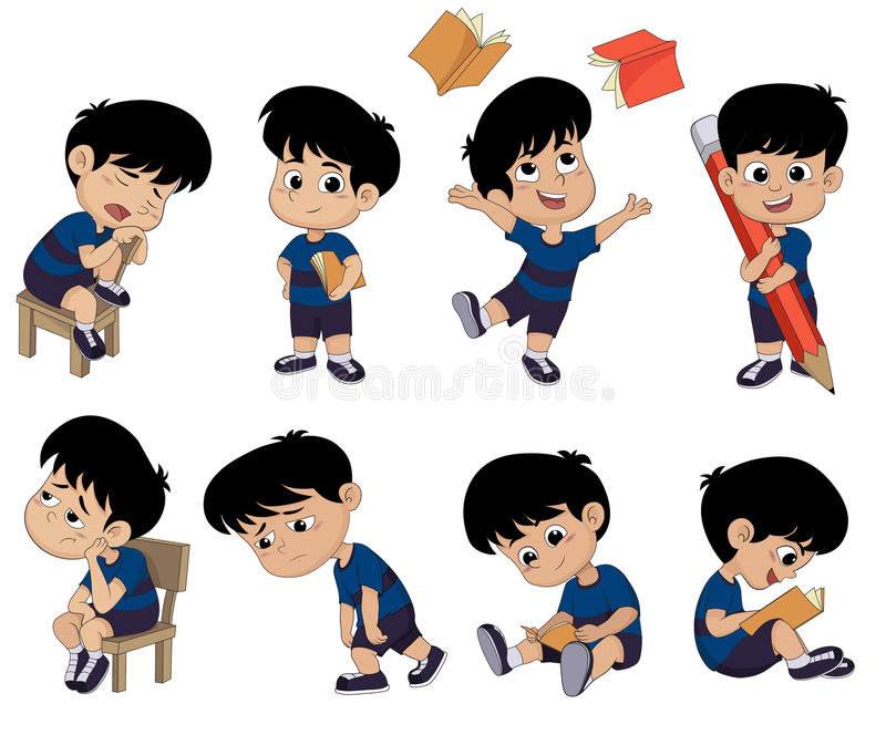 All of kids different pose about learning.back to school. royalty free illustration
