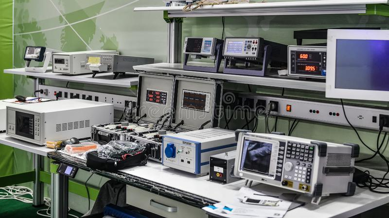 Laboratory Electronic equipment device instrument. All kinds of electronic equipment and testing instruments are in the electronic laboratory royalty free stock photos