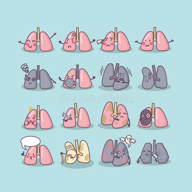 All kinds of lung concept stock illustration