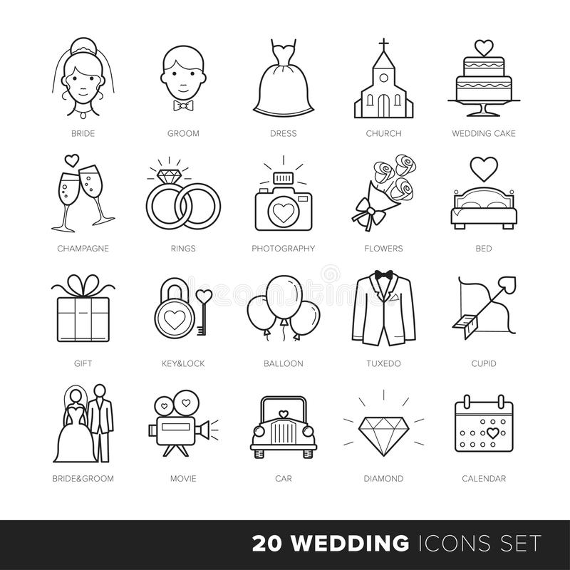 All Kinds Of Wedding Marriage Or Bridal Icons Set Vector Black And White Stock Vector