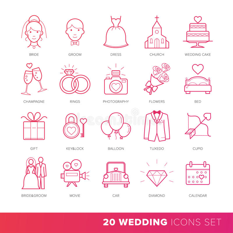 All Kinds of Wedding Marriage or Bridal Icons Set Vector. stock illustration