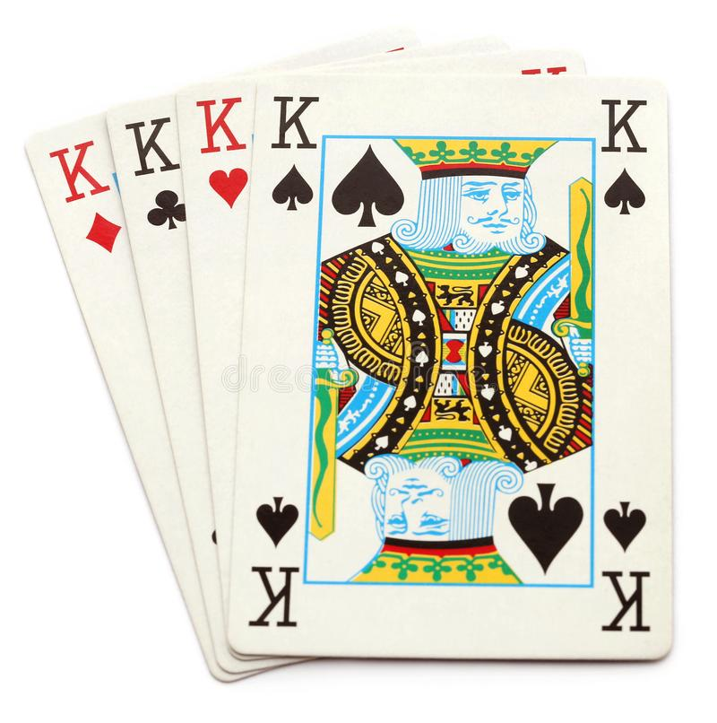 All kings of playing card over white background. All kings of playing card royalty free stock photo